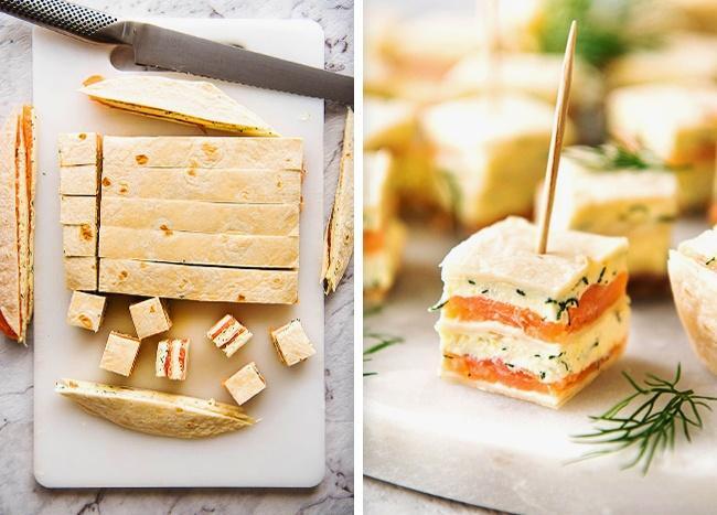 Оригинальная закуска из лосося и лаваша