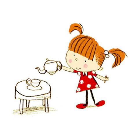Пьём чай рисунок