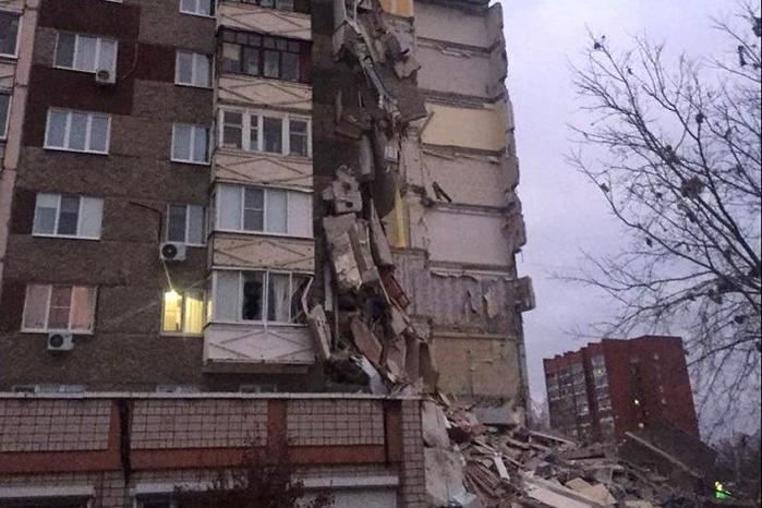 Опубликовано видео сместа обрушения высотки вИжевске