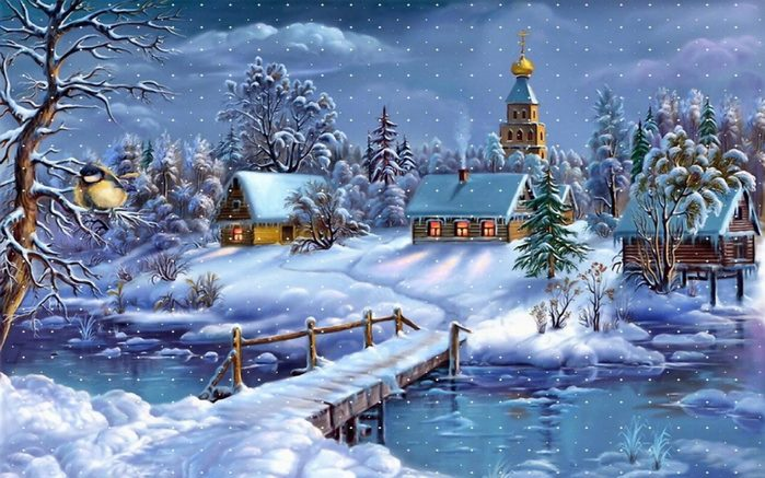 4843185_Winterlandscapevillage12__churchriverwoodenbridgelayerofsnowArtWallpaperforDesktop1920x12001440x900 (700x437, 85Kb)