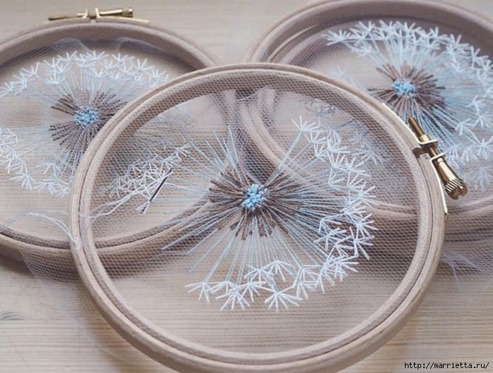 Одуванчики на тюле. Воздушная нежная вышивка (4) (700x529, 293Kb)