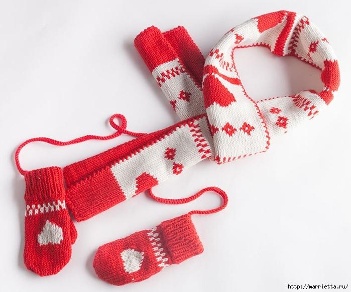 Спицами. Детская шапка и варежки с сердечками (2) (700x582, 240Kb)