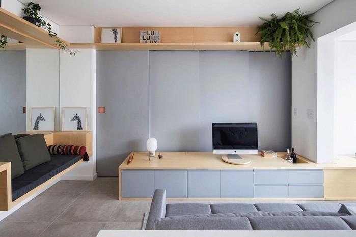Просторный интерьер квартиры площадью 38 квадратных метров в Сан-Паулу