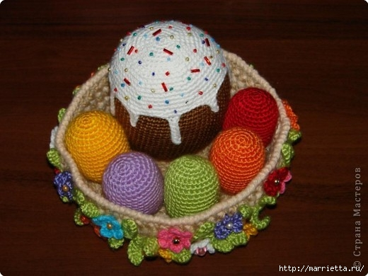 Вяжем крючком КУЛИЧ и пасхальные яйца