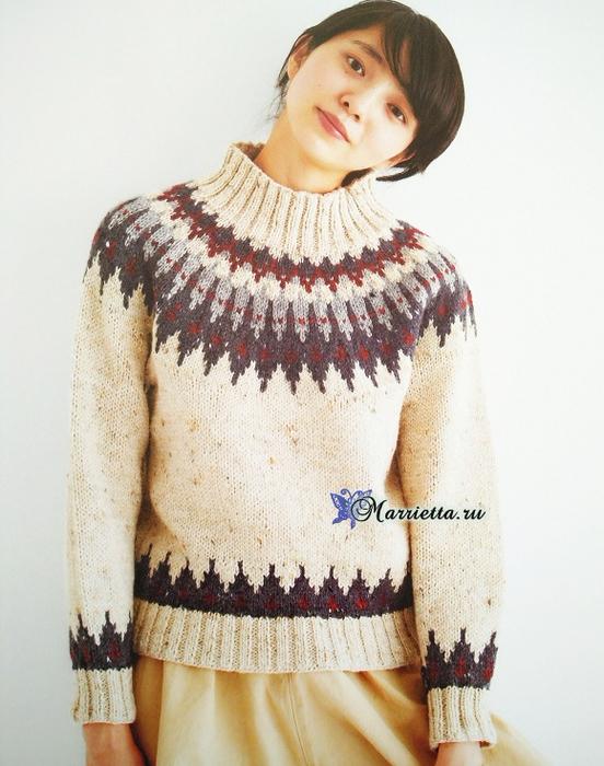 Пуловер спицами с круглой кокеткой жаккардовым узором (4) (552x700, 365Kb)