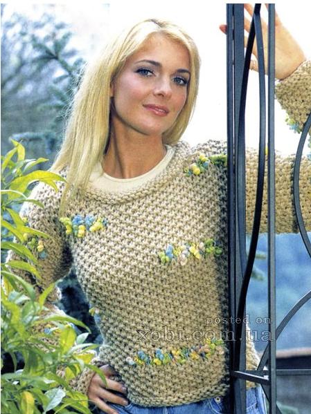 женский пуловер из толстой пряжи