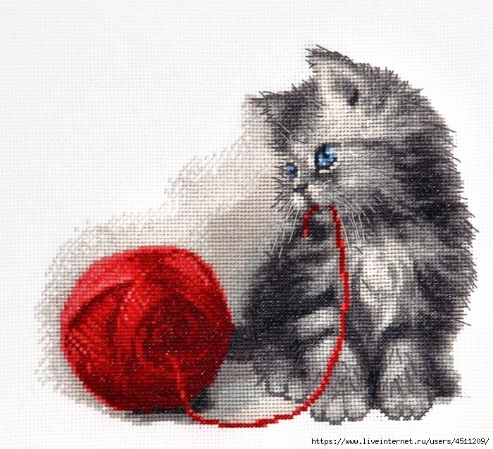 Схемы вышивок с котами 235