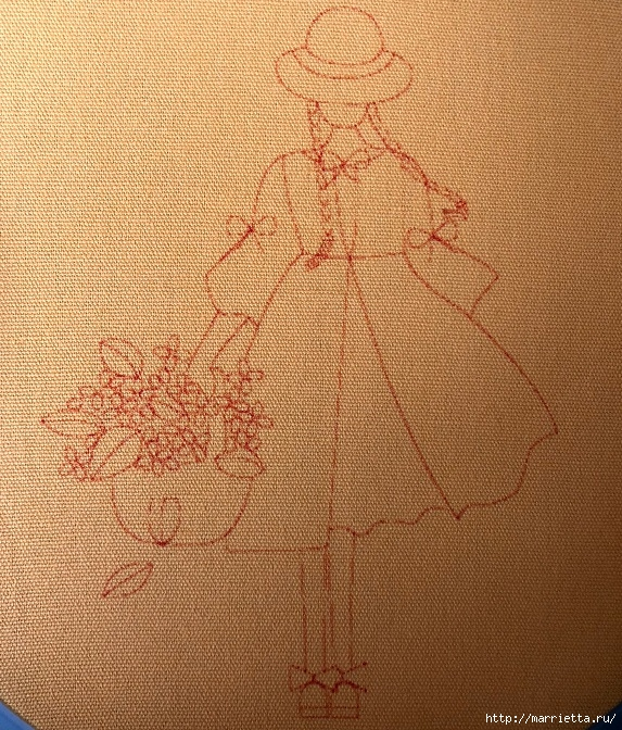 Девочка с корзиной цветов. Красивая вышивка (1) (573x672, 434Kb)