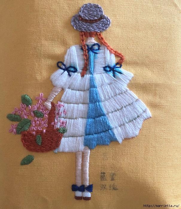 Девочка с корзиной цветов. Красивая вышивка (3) (605x700, 424Kb)