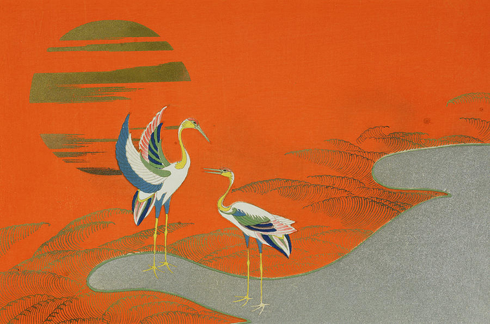 Birds At Sunset On The Lake. 1903 (700x463, 410Kb)