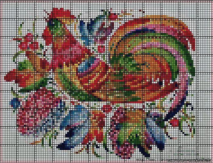 Схема вышивки крестиком красивого петуха