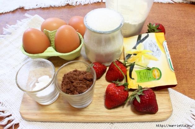 Бисквитный пирог с клубникой. Пошаговый рецепт (5) (629x419, 222Kb)