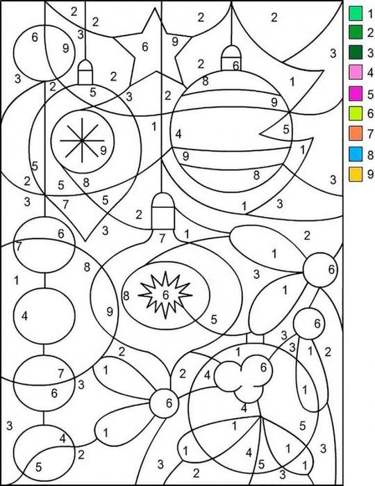 Раскраски по цифрам для детей 5-7 лет онлайн