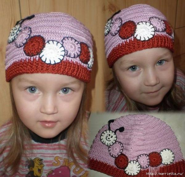 Гусеница на шапочке. Аппликация на детской одежде (12) (600x576, 216Kb)