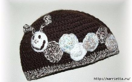 Гусеница на шапочке. Аппликация на детской одежде (14) (435x272, 87Kb)