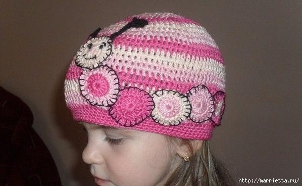 Гусеница на шапочке. Аппликация на детской одежде (18) (598x368, 138Kb)