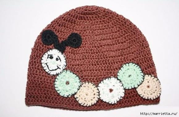 Гусеница на шапочке. Аппликация на детской одежде (20) (580x379, 150Kb)