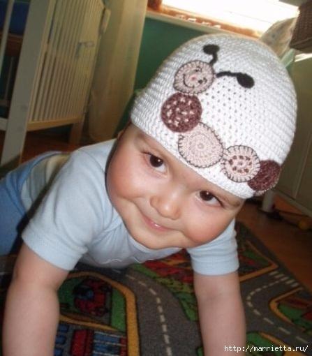 Гусеница на шапочке. Аппликация на детской одежде (22) (447x510, 116Kb)