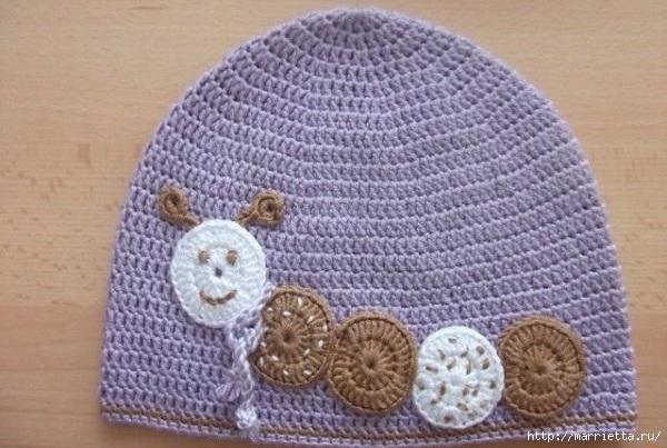 Гусеница на шапочке. Аппликация на детской одежде (24) (600x403, 171Kb)