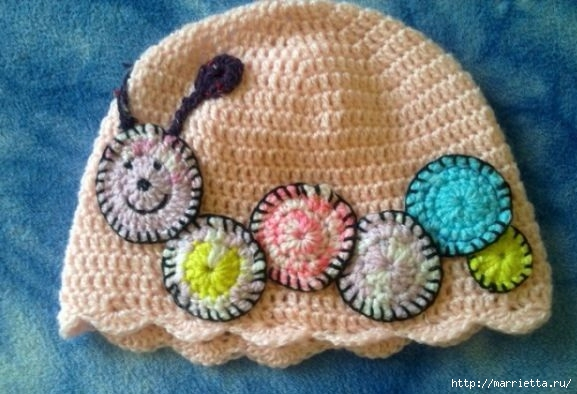 Гусеница на шапочке. Аппликация на детской одежде (28) (577x394, 149Kb)