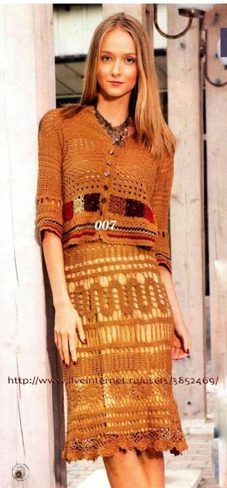 Летняя юбка коричевого цвета в технике брюггского кружева (326x700, 199Kb)