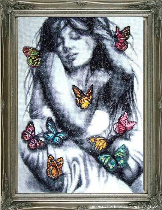 Вышивка схема девушка с бабочками 55