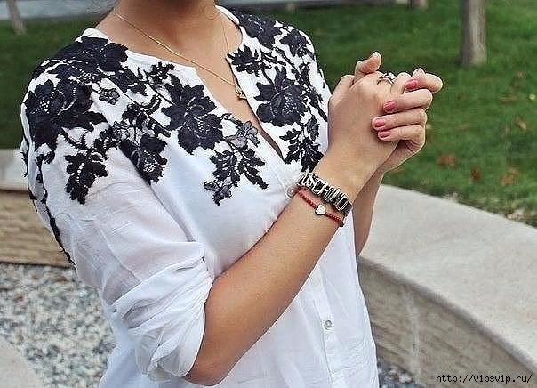 Декор рубашки кружевом