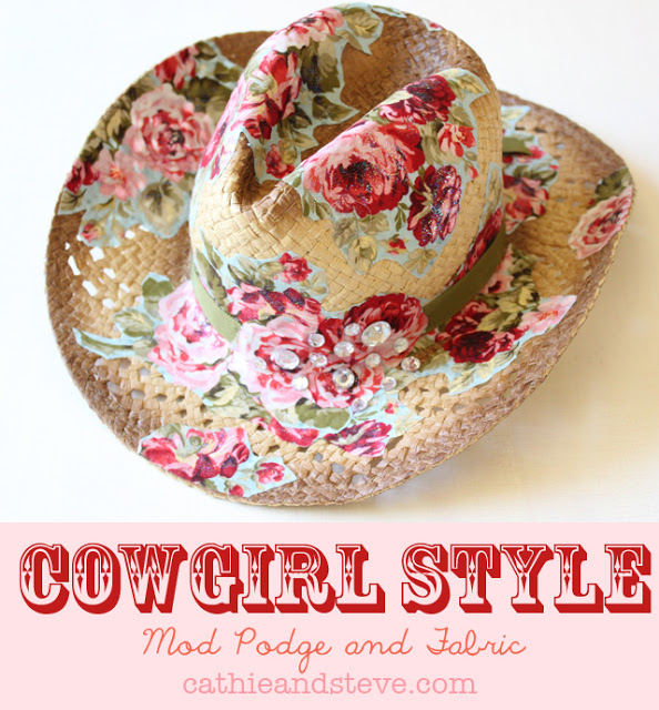 mod podge and fabric cowboy hat (594x640, 386Kb)