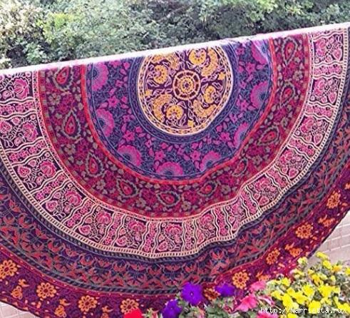 Мягкое изголовье кровати своими руками из коврика-мандалы (4) (491x446, 260Kb)
