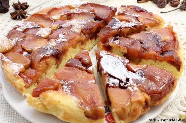 Яблочный пирог-перевертыш. Пошаговый рецепт (2) (630x419, 226Kb)