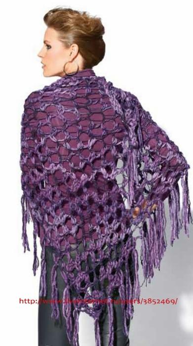Схема шали из лиловой меланжевой пряжи (391x700, 158Kb)