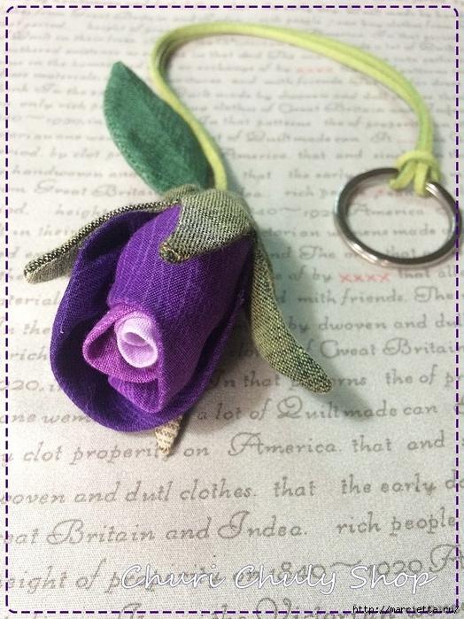 Розы из ткани. Подвеска для брелка своими руками (9) (524x700, 306Kb)