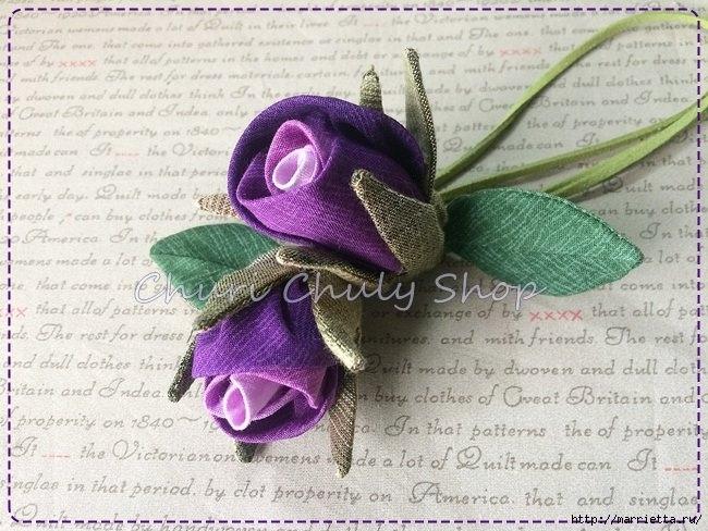 Розы из ткани. Подвеска для брелка своими руками (11) (650x488, 224Kb)