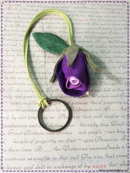Розы из ткани. Подвеска для брелка своими руками (21) (524x700, 348Kb)