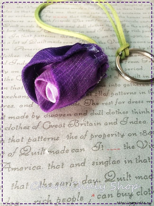 Розы из ткани. Подвеска для брелка своими руками (24) (524x700, 388Kb)