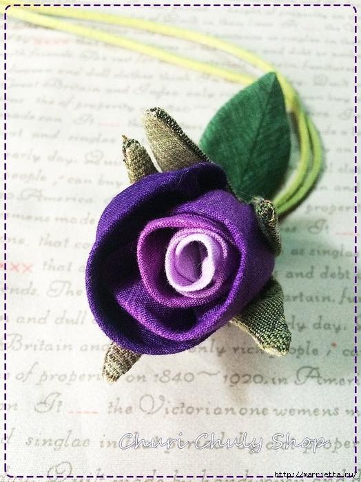 Розы из ткани. Подвеска для брелка своими руками (26) (524x700, 290Kb)