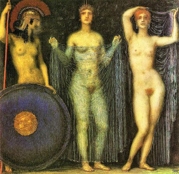 The three goddesses  Hera, Aphrodite, Athena  (Три богини Афина, Гера, Афродита) (700x680, 262Kb)