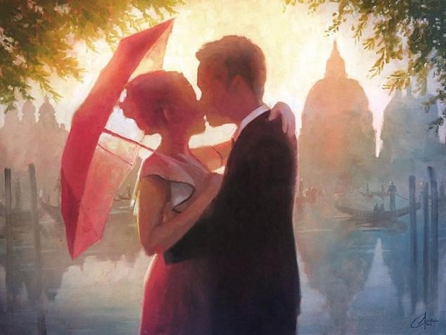The Red Umbrella in Venice (634x476, 261Kb)