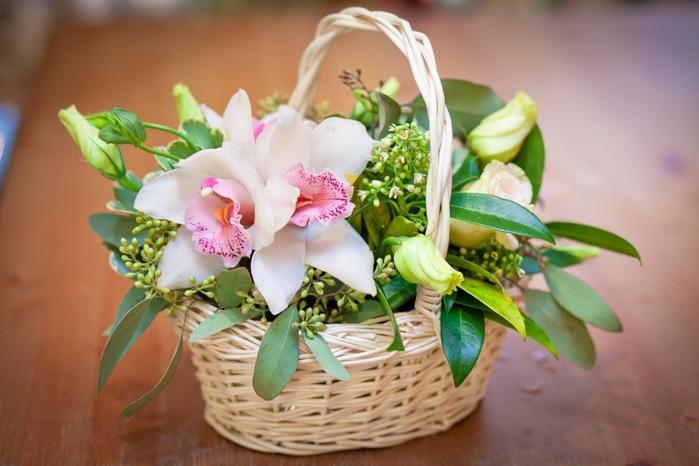 Как сделать цветы в корзине