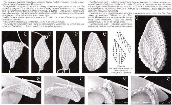 Тунисское вязание крючком цветы со схемами мк 5