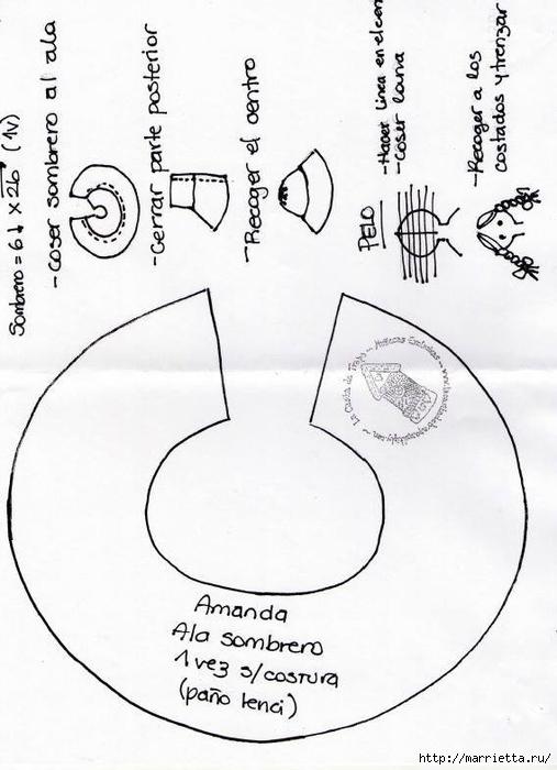 Выкройка куколки Аманды в шляпке (2) (507x700, 180Kb)