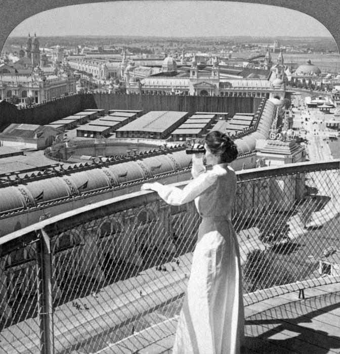 From wireless telegraph tower west over huge Manufactures Bldg., to the -Pike,- World's Fair, St. Louis,  (672x700, 340Kb)