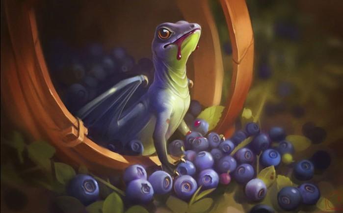 Художник Александра Хитрова: маленькие драконы среди ягод и фруктов
