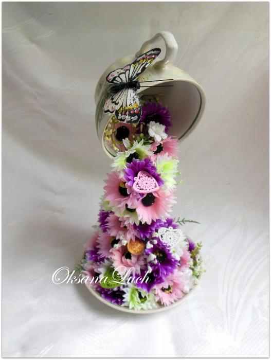 Кружка с блюдцем из цветов своими руками 96