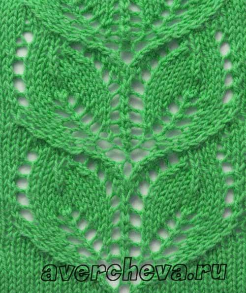 Схема вязания спицами узора листики