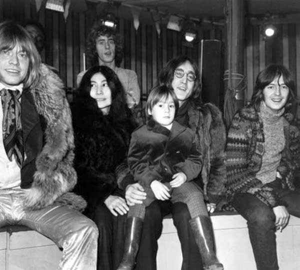Brian Jones, Yoko Ono, Roger Daltrey, Julian Lennon, John Lennon and Eric Clapton