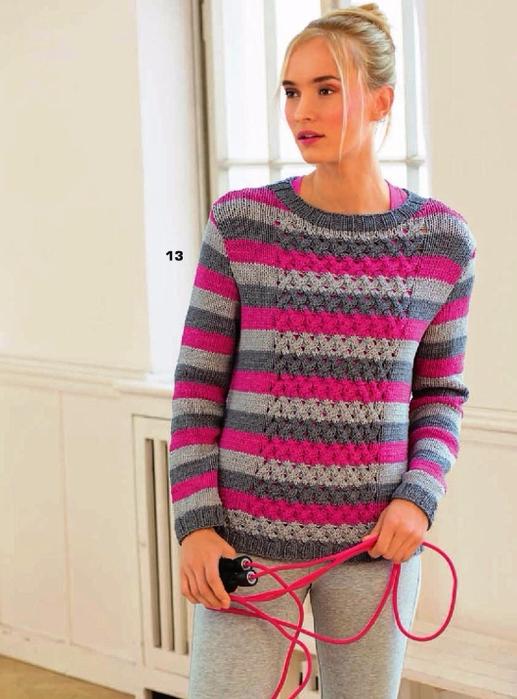 Вязание спицами свитер полосками
