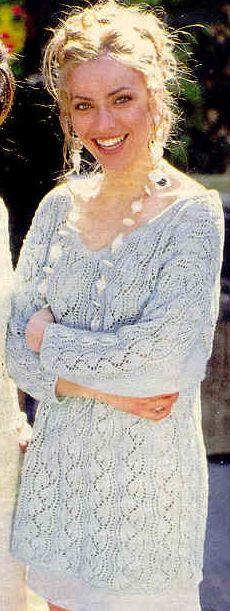 пуловер цвета мяты с круглой кокеткой