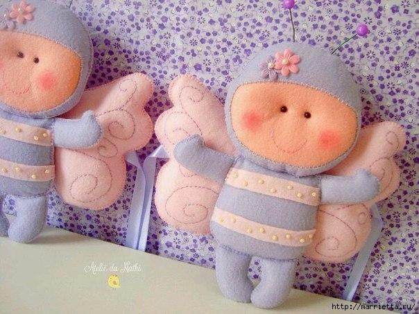 Бабочки из фетра. Игрушки для детской комнаты (10) (604x453, 187Kb)