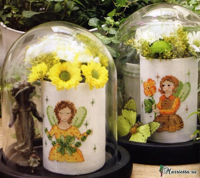 Цветы и цветочные феи для декора цветочных горшков. Вышивка (1) (700x623, 536Kb)